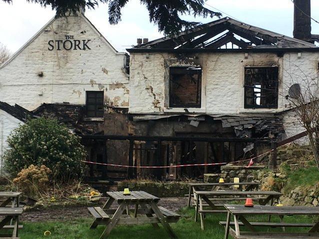 The Stork Inn badly damaged by the fierce blaze in January last year