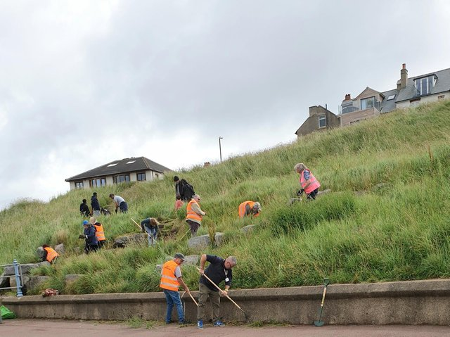 Volunteers from local community groups turned up to do weeding at Sunny Slopes in Heysham, said Lancaster City Council.