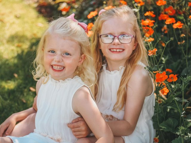 Elodie and Emelia Rankin from Halton who are fundraising for CancerCare and Mummy's Star charities.