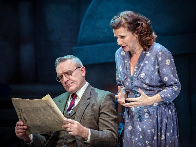 Sian Reeves and Mark Moraghan as Mother and Father in By The Waters of Liverpool. Photo: Anthony Robling.