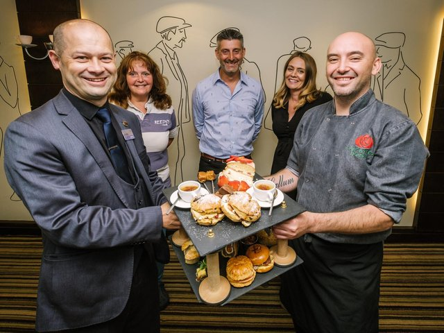 Damien Ng (front right) and Andy Lemm from Lancaster House Hotel with Lisa Reedy of Reedy's, Jade Davis and Michael Price from Port of Lancaster Smokehouse Ltd. © Steven Barber