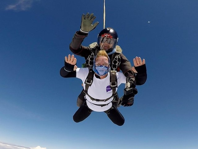 Jo Towers pictured during her tandem skydive at Black Knights Parachute Centre.