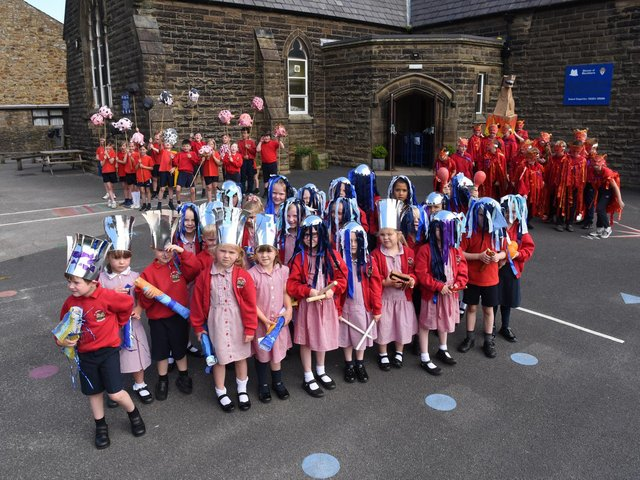 They're ready to go! This week pupils at St Wilfrid's school, Ribchester marked the end of their special heritage project with a parade through their village.