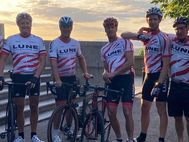 Pictured are seven of the team members from Lune Racing Club getting ready for the charity bike ride
