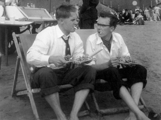 Eric Morecambe and Ernie Wise on the beach at Blackpool in 1953