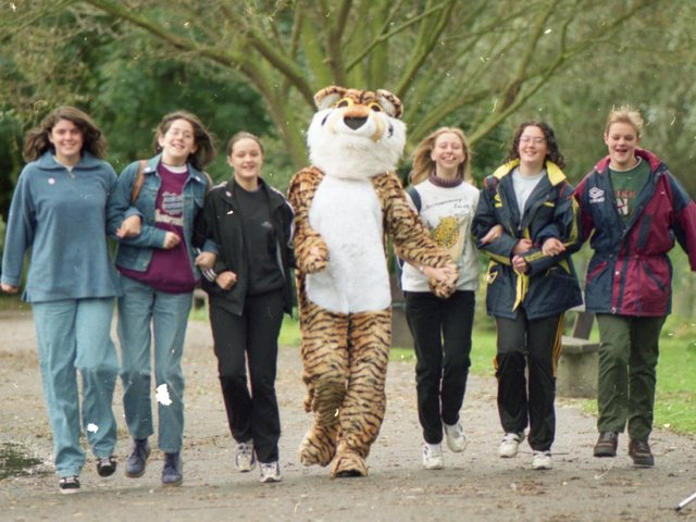 Scores of people took part in a walk at Martin Mere to raise money for endangered species across the globe. A three-mile sponsored walk at the Burscough Wildfowl and Wetlands Trust to raise money for the World Wildlife Fund attracted 110 walkers, including 70 from Burscough Priory High School. Pictured: Burscough Priory High pupils (from left) Elizabeth Wifong, Alison Conboy, Andrea Barnes, Kate Rowles, Louise Hogg and Victoria Bickerstaffe, with Tony the Tiger during the walk