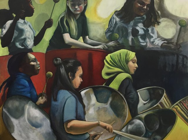 The music has inspired many artists showing their work at the Art of Music exhibition, including Nicola Hepworth whose painting, Steel Pan Players, will be on display.