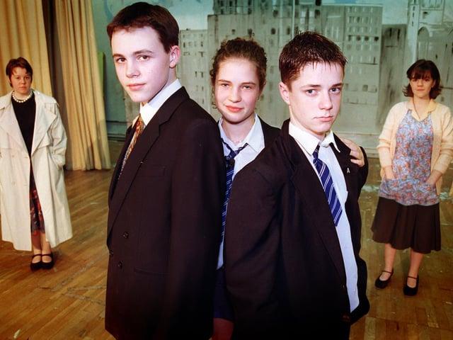Rosanna O'Sullivan, 15, David Kirkham, 15, Sarah Hardman, 15, Matt Bispham, 15, and Emma Johnston, 16, during the dress rehearsal of Blood Brothers at Fulwood High School in Preston